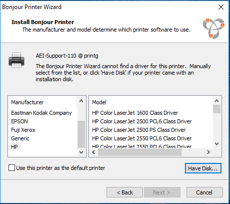 Choose A Printer Driver If The Is Not Listed Click On Have Disk And Path Of Print Next